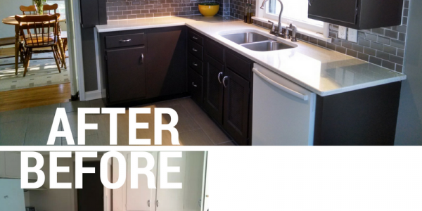 before and after of kitchen renovation, Inspirational Painting logo