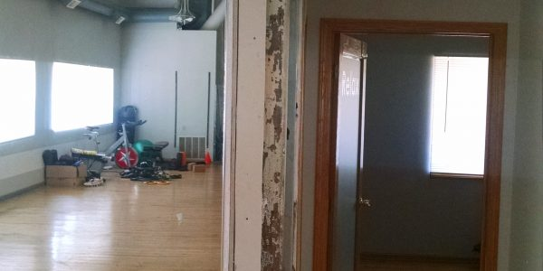 corner pillar in need of repair in yoga studio