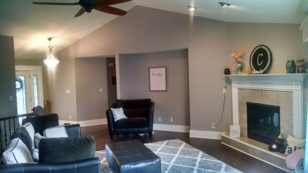 newer ranch with gray walls and white trim