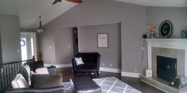 Gray ranch living room with white trim