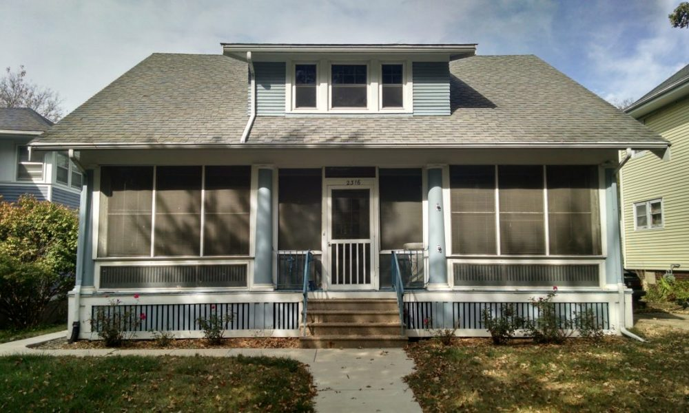 front of two tone two story exterior blue with white trim